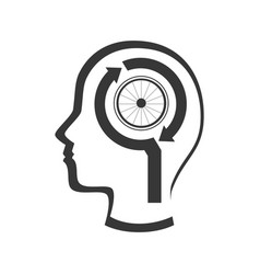 Profile human with bicycle wheel emblem icon vector