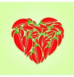 Red Hot Peppers in Shape of Heart vector image vector image