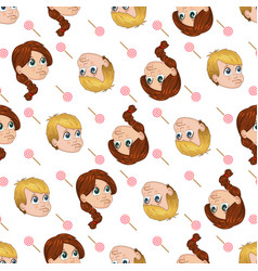Seamless pattern of cute little boy and vector