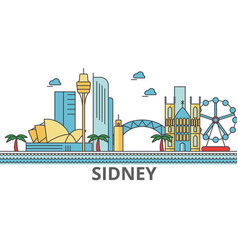 sidney city skyline buildings streets vector image