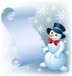 snowman with a sheet of paper christmas vector image