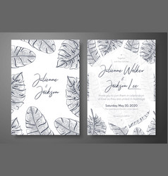 vintage wedding invitation templates with tropical vector image