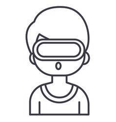 virtual realityman with 3d glasses line vector image