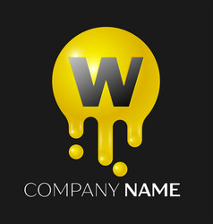 W letter splash logo yellow dots and bubbles vector