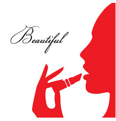 woman paints her lips vector image vector image