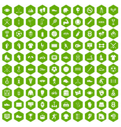 100 athlete icons hexagon green vector