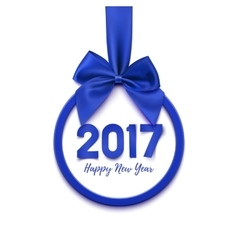 Happy new year 2017 round blue banner vector