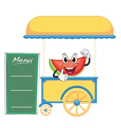 A cart stall and a watermelon vector