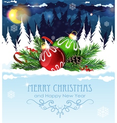Christmas decorations in the winter forest vector