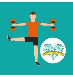 Heart weight loss sport male lifting dummbell vector