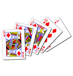 Royal flush diamonds vector