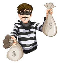 A robber with two sacks of cash vector