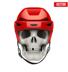 Human skull with ice hockey helmet vector
