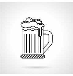 Glass of beer black line icon vector