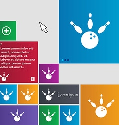 Bowling icon sign buttons modern interface website vector