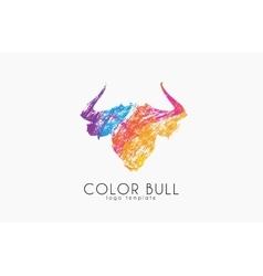 Bull logo design Color bull Crealive animal logo vector image