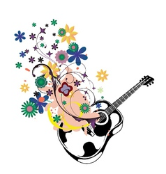 guitar with floral vector image