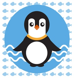 Abstract with a baby penguin on blue water vector