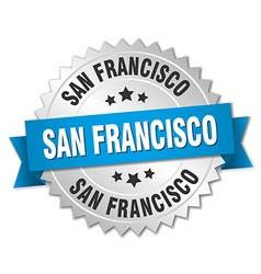 San francisco round silver badge with blue ribbon vector