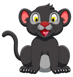 Cute black panther sitting vector