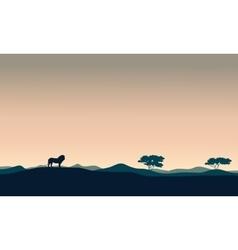 Beautiful landscape lion silhouettes vector