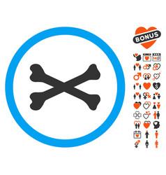 Bones cross icon with dating bonus vector