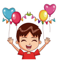 Boy on birthday with balloons and pennants vector