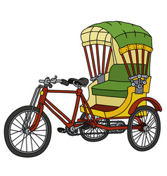 Classic color cycle rickshaw vector