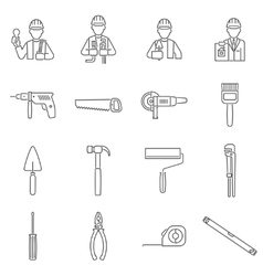 Construction icons line vector