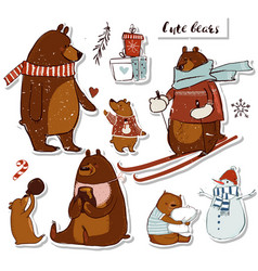 cute bears set vector image