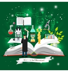 Education infographics with open book vector