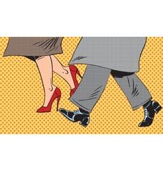 Feet man and woman shoe go bad weather street pop vector