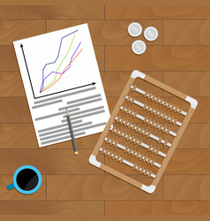 Financial profit chart on desk vector