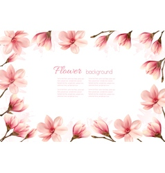 Flower background with a border of pink magnolia vector