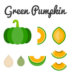 Green pumpkin set 2 vector
