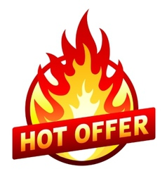 Hot offer red price sticker badge with flame vector image