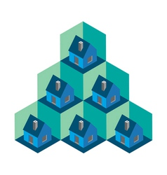 Isometric house pattern vector image vector image