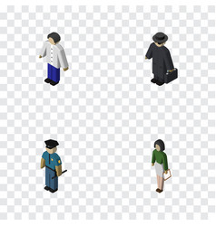 isometric human set of pedagogue male detective vector image vector image