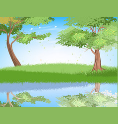 Lake in nature scene vector