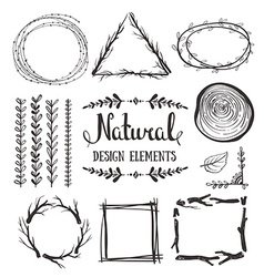 Natural design elements forest fames vector