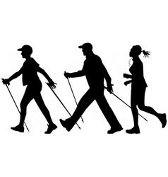 Nordic walking and jogging vector