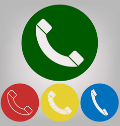 phone sign 4 white styles of vector image