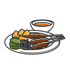 Plate with snack and bowl of sauce isolated vector