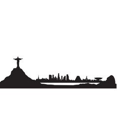 Rio de janeiro city skyline travel background vector