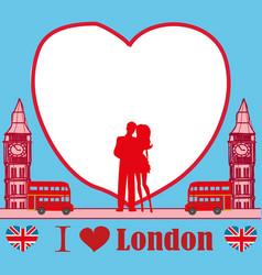 Romantic couple in london card vector