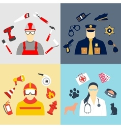 set collection icons of color professions vector image
