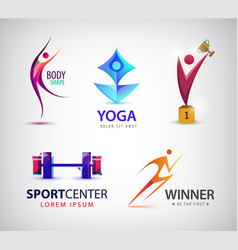 Set of sport logos man runner gym yoga vector