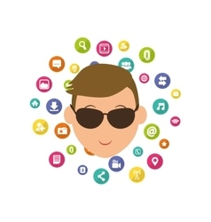Social media male with sunglasses cartoon vector