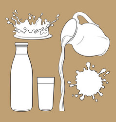 Splashing and pouring drink bottle jug glass vector