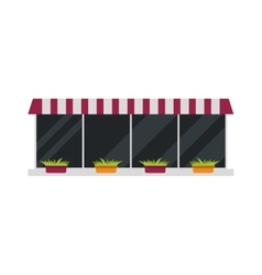 Storefront organic window with plants eco market vector